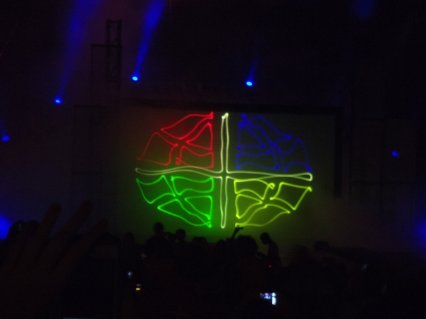 A laser light version of the ELCA logo at the National Youth Gathering, 2012.