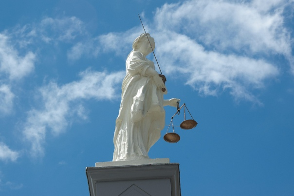 Justice on top of the Buttercross, Market Place, Bungay, Suffolk by mira66 is licensed under CC BY-NC-SA.