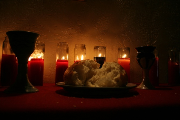 """communion elements with candles"" by Lars Hammar is licensed under CC BY-NC-SA 2.0."